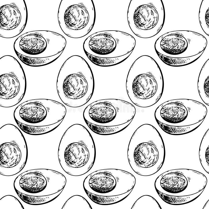 Wektorowa ręka rysujący bezszwowy wzór gotowani kurni jajka Zwierzęta gospodarskie produkty Grawerująca sztuka Organicznie kreślą ilustracja wektor