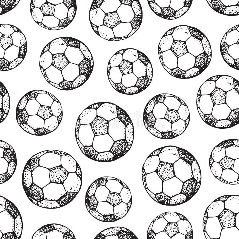 Wektorowa ręka rysujący bezszwowy wzór piłki nożnej piłka pojedynczy białe tło ilustracja wektor