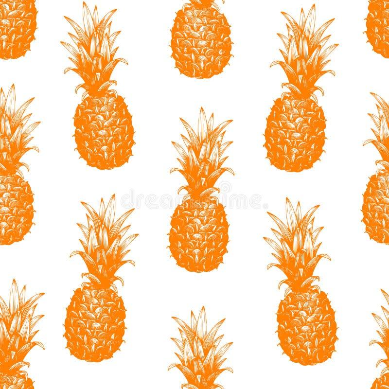 Wektorowa ręka rysujący bezszwowy wzór z ananasem Tropikalna owoc grawerująca lato stylowa ilustracja Może być używa dla adversit royalty ilustracja