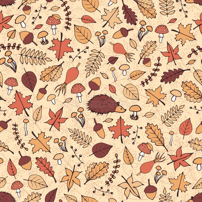 Wektorowa ręka rysujący bezszwowy wzór z jesień elementami royalty ilustracja