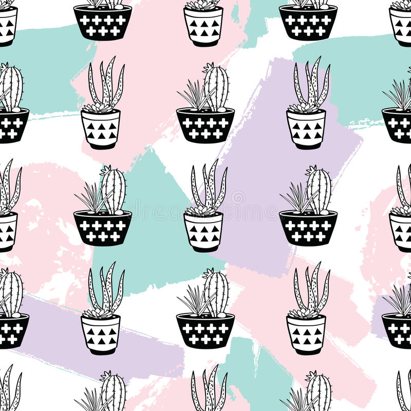 Wektorowa ręka rysujący bezszwowy wzór z malującymi elementami, kaktusami i sukulentami w garnkach geometrycznymi i szczotkarskim royalty ilustracja