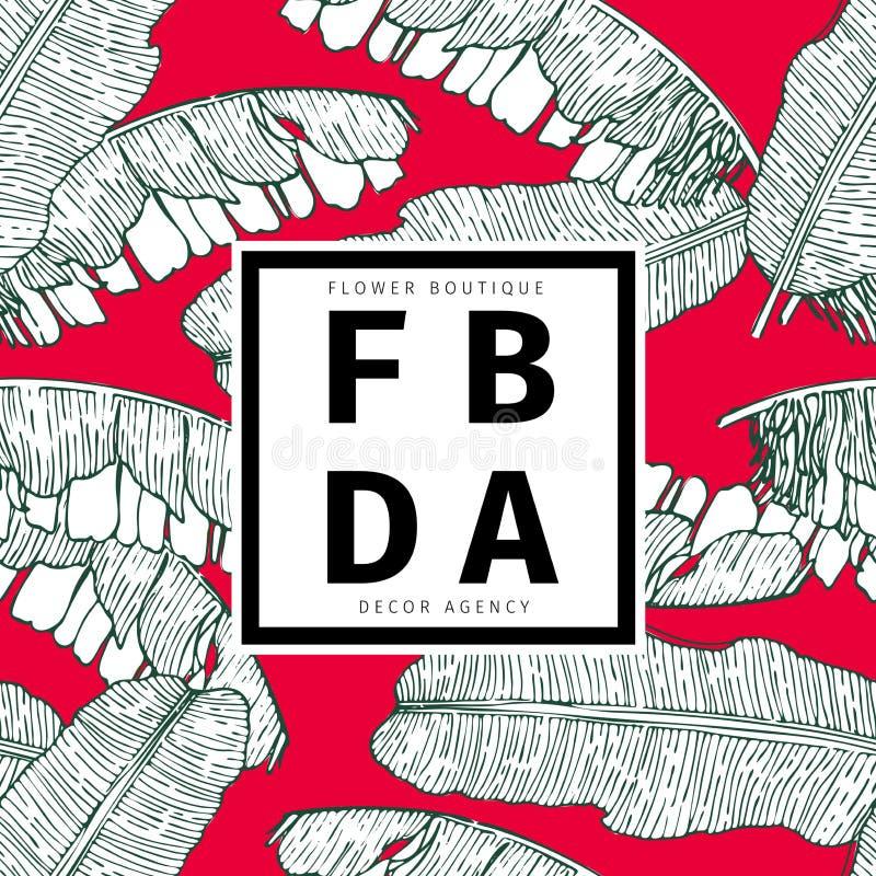 Wektorowa ręka rysujący bezszwowy wzór zasadź tropikalnego Egzoty grawerujący bananów liście Isoalated na czerwieni Kwiatu butik ilustracji
