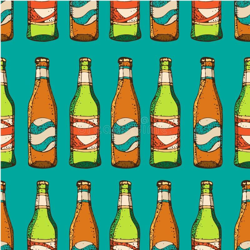 Wektorowa ręka rysujący bezszwowy wzór zielone i brown piwne butelki Domowy piwowarstwo, wykonujący ręcznie piwo ilustracja wektor
