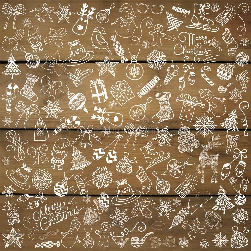 Wektorowa ręka Rysujący bożych narodzeń Doodles na Drewnianej teksturze royalty ilustracja