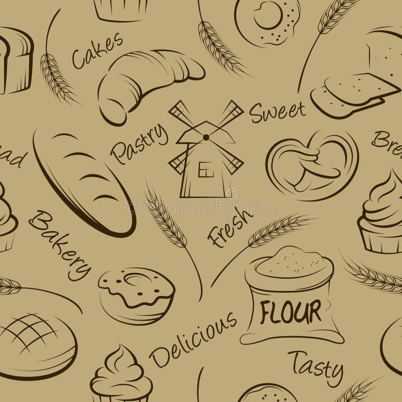 Wektorowa ręka rysujący ciasto bezszwowy wzór royalty ilustracja