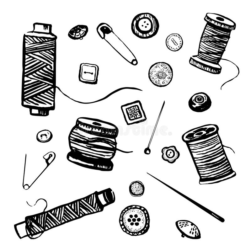 Wektorowa ręka rysujący czarny i biały atramentu ilustracyjny ustawiający guziki, igły i cewy nici odzieży, ilustracji