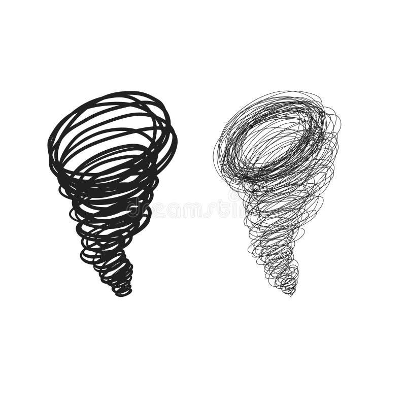 Wektorowa ręka rysujący doodle i skrobaniny huragan ilustracja wektor