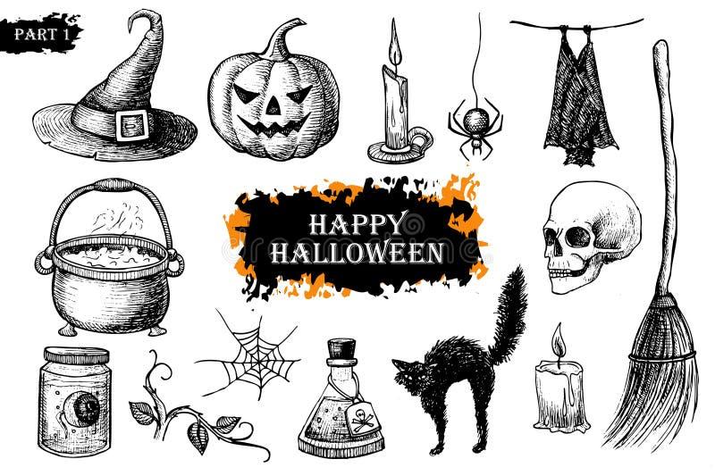 Wektorowa ręka rysujący Halloween set ptaka rocznik śliczny ilustracyjny ustalony ilustracji