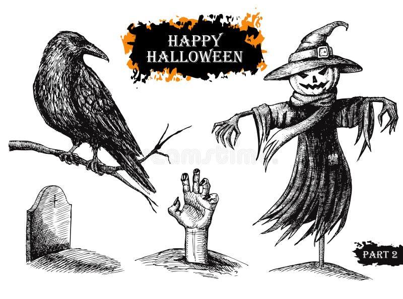 Wektorowa ręka rysujący Halloween set ptaka rocznik śliczny ilustracyjny ustalony ilustracja wektor