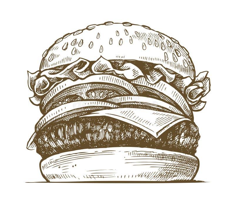 Wektorowa ręka rysujący hamburger ilustracja wektor