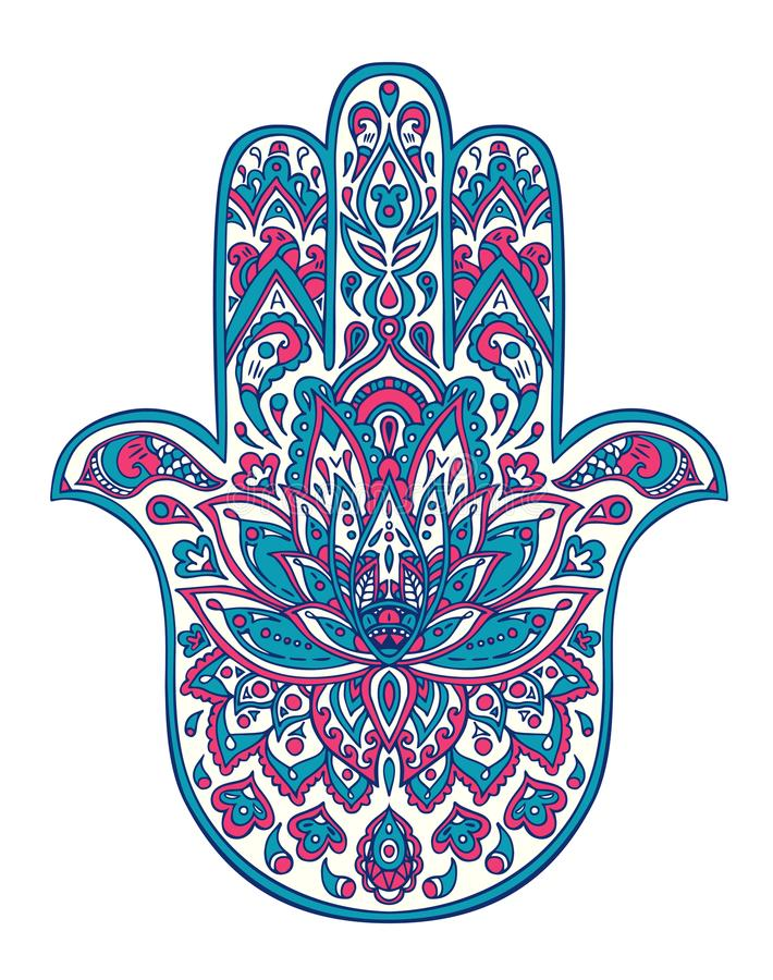 Wektorowa ręka rysujący hamsa symbol z etnicznymi kwiecistymi ornamentami w menchii i błękita kolorach ilustracja wektor