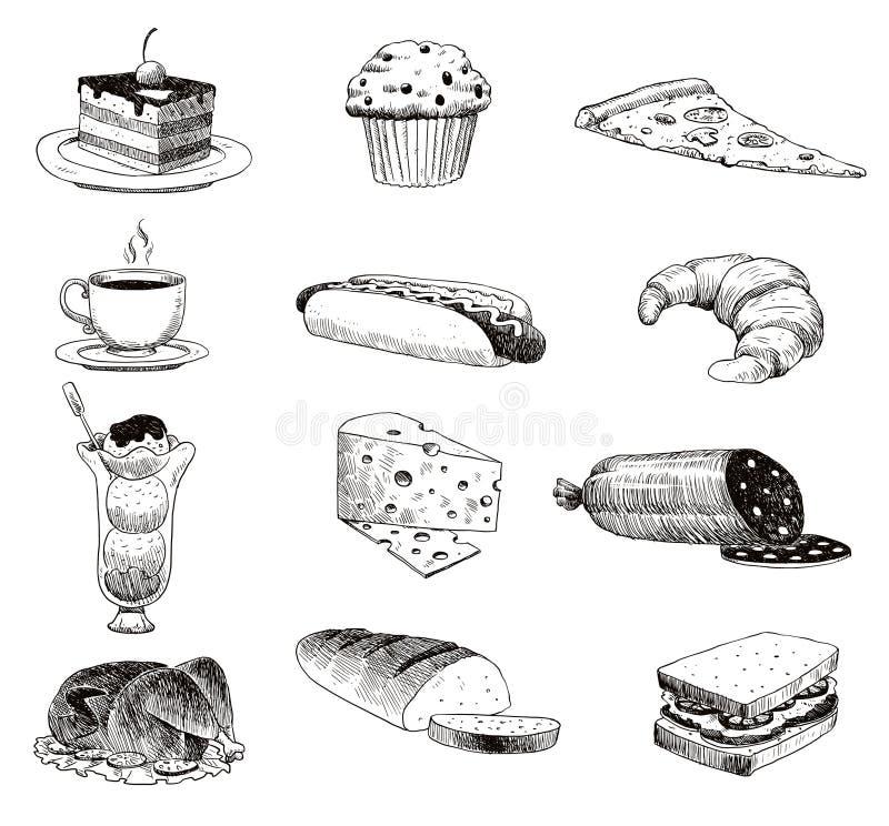 Wektorowa ręka rysujący karmowy nakreślenie i kuchenny doodle Handdrawn karmowego nakreślenia i kuchennego doodle graficzna retro royalty ilustracja