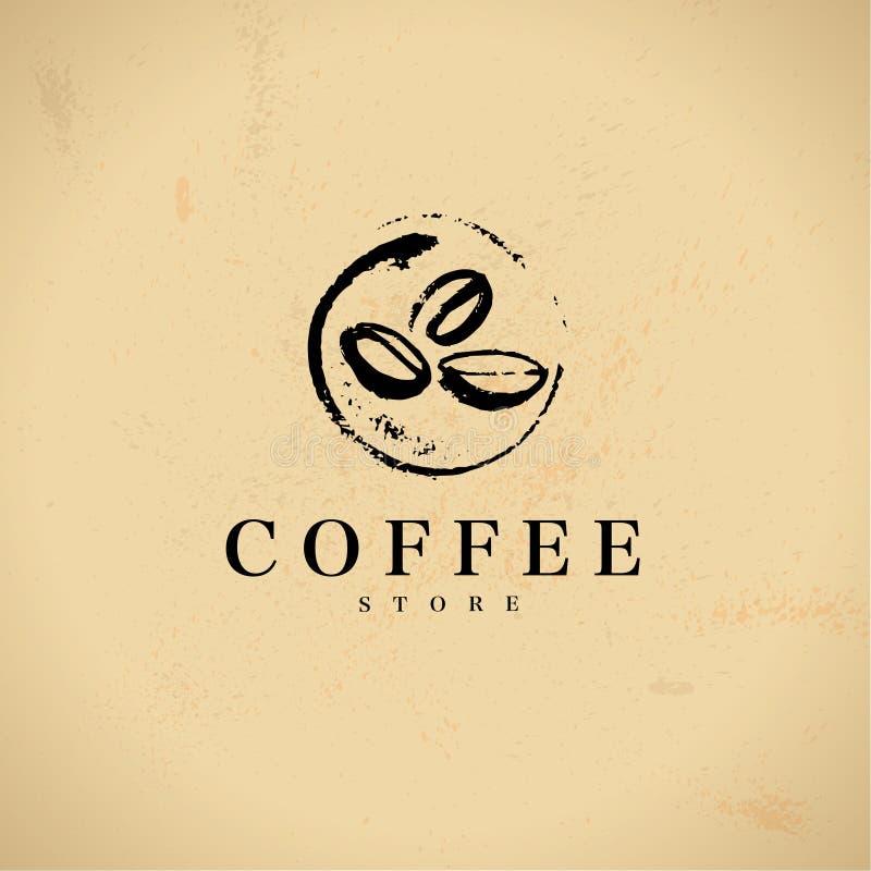 Wektorowa ręka rysujący kawowi loga projekta elementy odizolowywający na textured tle royalty ilustracja
