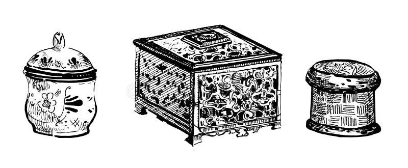 Wektorowa ręka rysujący konturu atrament ustawiający starzy pudełka i szkatuły drewniani i metal ilustracji