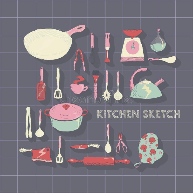 Wektorowa ręka rysujący kuchenny ikona set ilustracja wektor