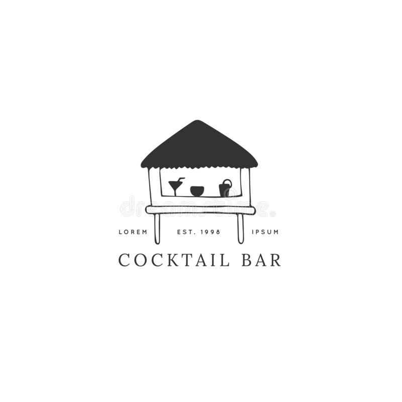 Wektorowa ręka rysujący logo szablon, koktajl plaży bar ilustracja wektor