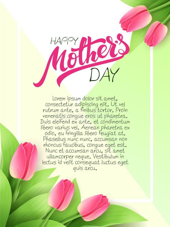 Wektorowa ręka rysujący matka dnia kartka z pozdrowieniami z kwitnącym tulipanem i literowanie wycena kwitnie - szczęśliwy matka  ilustracja wektor