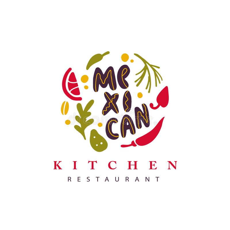 Wektorowa ręka rysujący meksykański karmowy restauracyjny logo z warzywami, pikantnością i literowaniem odizolowywającymi na biał ilustracji