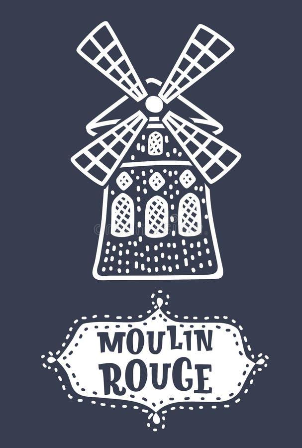 Wektorowa ręka Rysujący Moulin ilustracja wektor