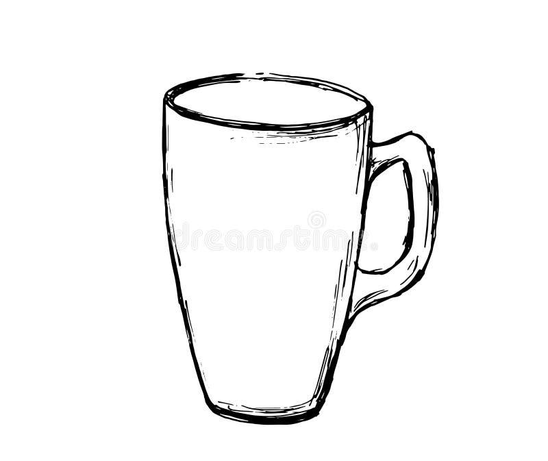 Wektorowa ręka rysujący nakreślenie kawowy kubek Ilustracja dla projekta, druku lub tła, ilustracja wektor