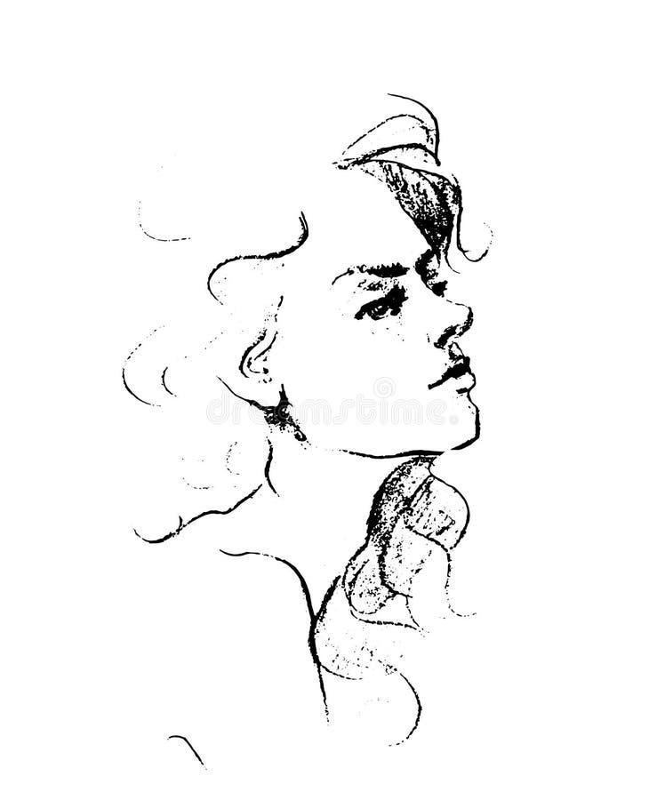 Wektorowa ręka rysujący ołówkowy nakreślenie z twarzą dziewczyna Żeński portret ilustracji