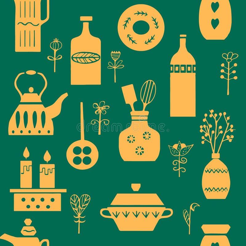 Wektorowa ręka rysujący plakat w stylu ` Hygge ` bezszwowy wzoru Kitchenware w Skandynawskich lud wzorach royalty ilustracja