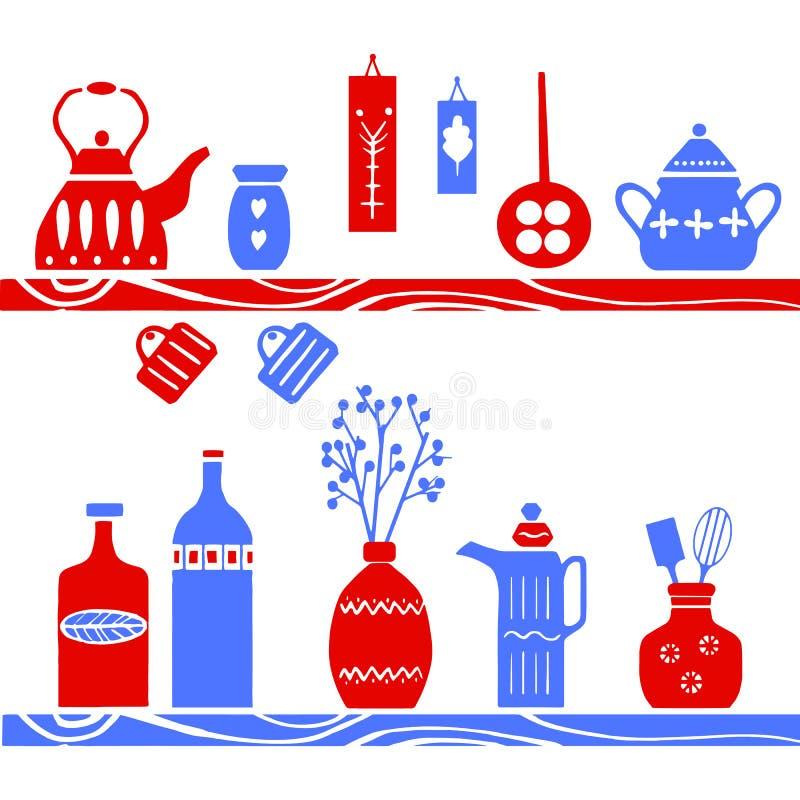 Wektorowa ręka rysujący plakat w stylu ` Hygge ` Kitchenware w Skandynawskich lud wzorach ilustracja wektor