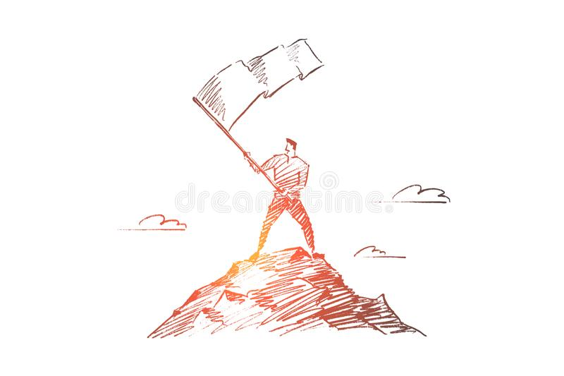 Wektorowa ręka rysujący przywódctwo pojęcia nakreślenie ilustracji