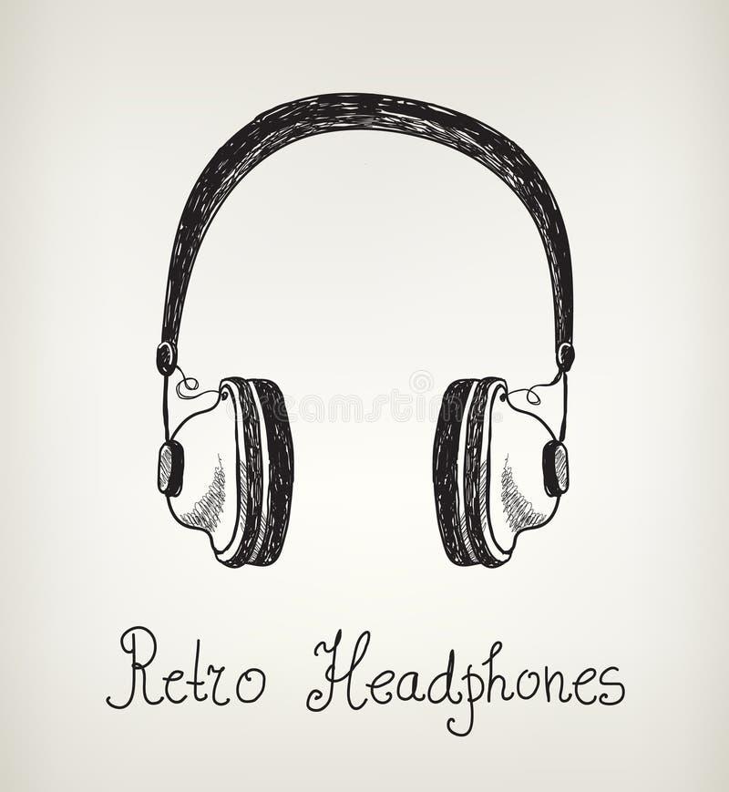 Wektorowa ręka rysujący retro hełmofony, słuchawki ilustracji