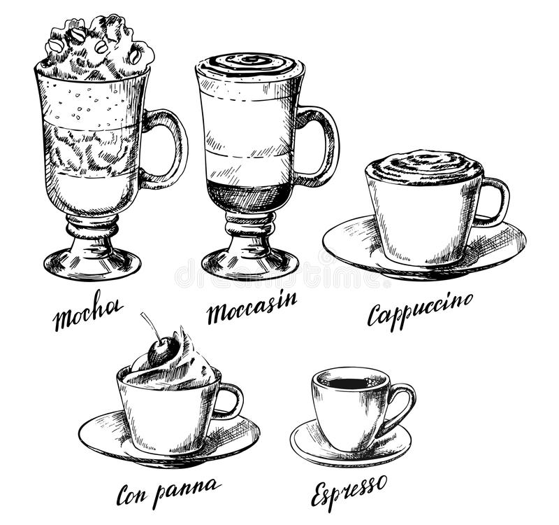 Wektorowa ręka rysujący roczników kawowi typ ustawiający royalty ilustracja