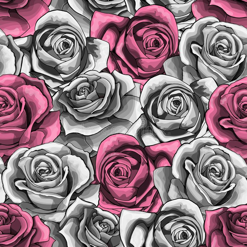 Wektorowa ręka rysujący rocznik róży kwiatu okwitnięcie kwitnie bezszwowego wzór ilustracja wektor