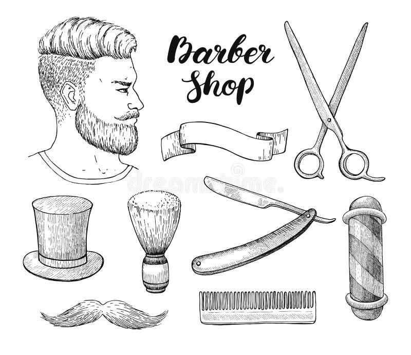 Wektorowa ręka rysujący rocznika fryzjera męskiego sklepu set bling szczegółowa karowa ilustracja ilustracja wektor