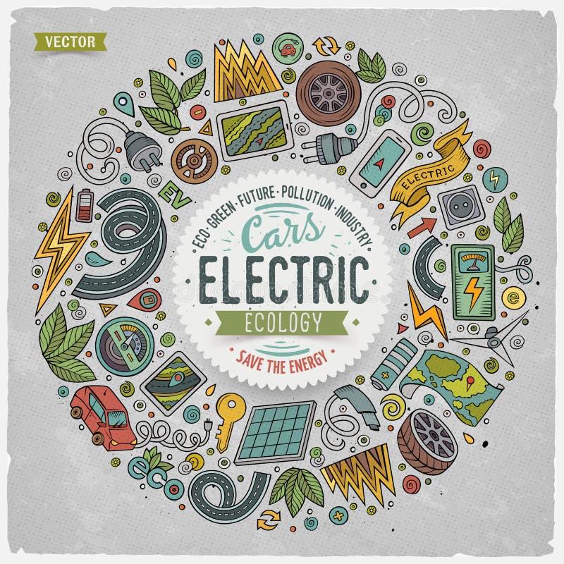 Wektorowa ręka rysujący set Elektrycznych samochodów kreskówki doodle protestuje royalty ilustracja