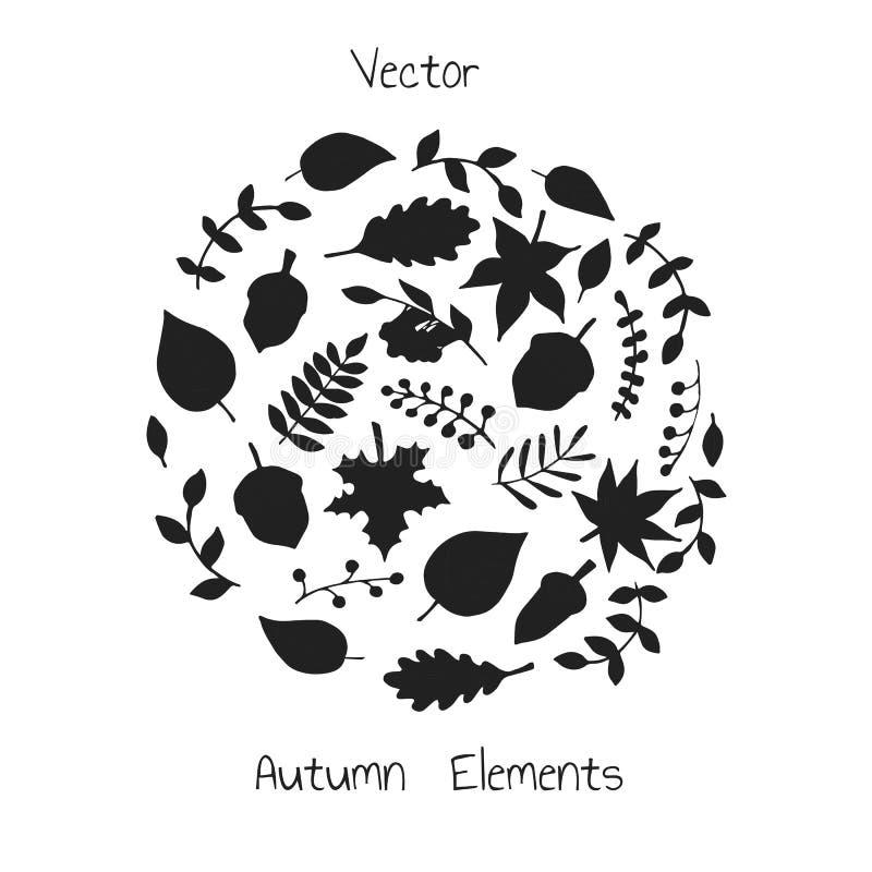 Wektorowa ręka rysujący set jesień elementów sylwetki royalty ilustracja