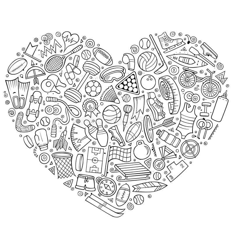 Wektorowa ręka rysujący set sport kreskówki doodle protestuje ilustracja wektor