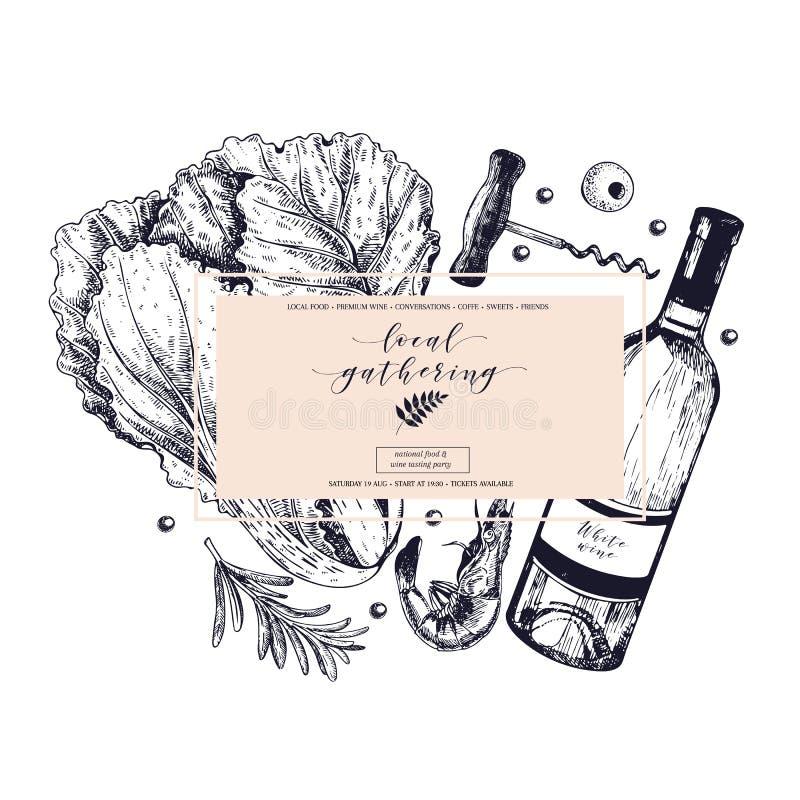 Wektorowa ręka rysujący sztandaru miejscowego zgromadzenia Ramowy skład Wino, owoce morza, ser, kurczaka spotkanie, rolni warzywa ilustracji
