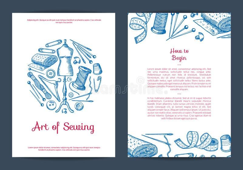 Wektorowa ręka rysujący szwalni elementy karta, ulotka lub broszurka, royalty ilustracja