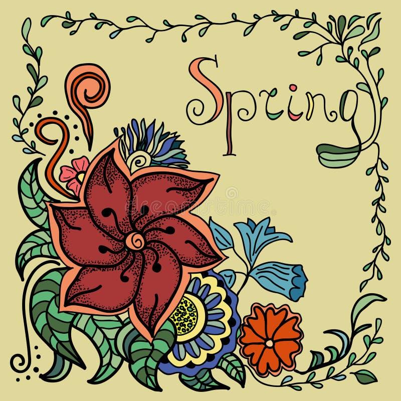 Wektorowa ręka rysujący tło Doodle kwiecisty wzór z ręka rysującym tekstem piękny makro- wiosna tematu tulipan ilustracja wektor