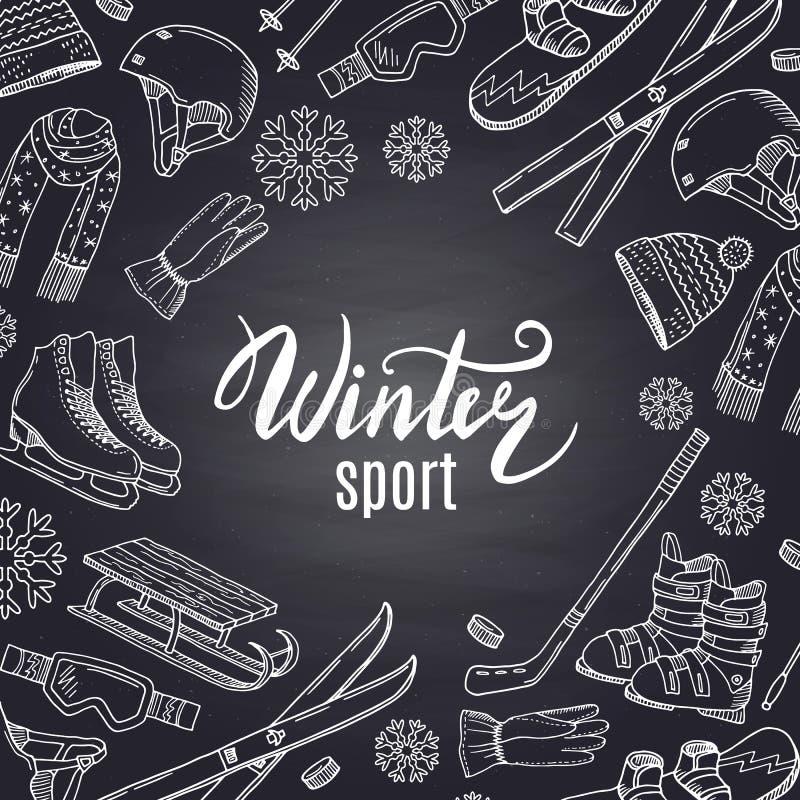 Wektorowa ręka rysujący zima sportów wyposażenie i atrybuty na czarnym chalkboard z miejscem dla teksta w centrum royalty ilustracja