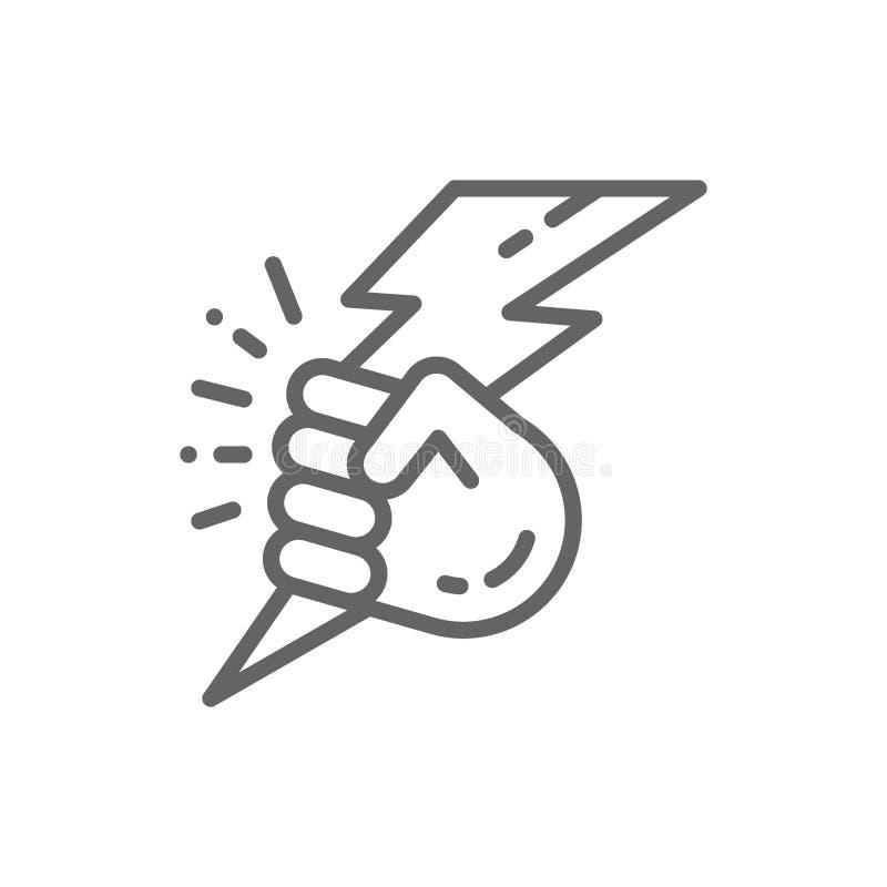 Wektorowa r?ka z b?yskawic?, linii energetycznej ikona royalty ilustracja