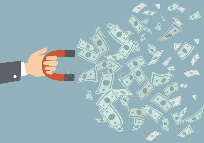Rączka wektorowa z czerwonym magnesem i latającymi pieniędzmi - Ilustracja ilustracja wektor