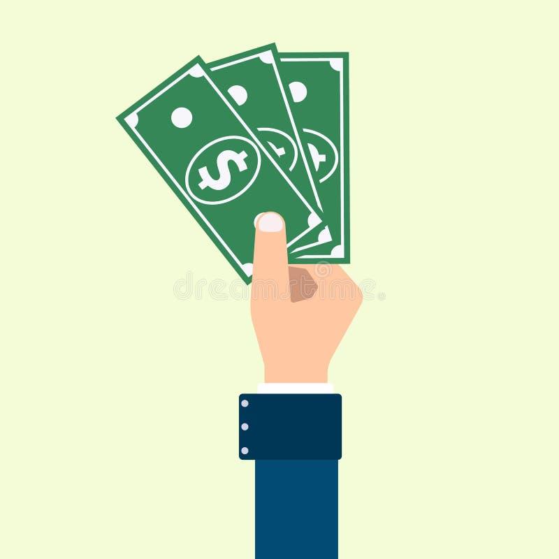 Wektorowa ręka z plikiem dolary obraz royalty free