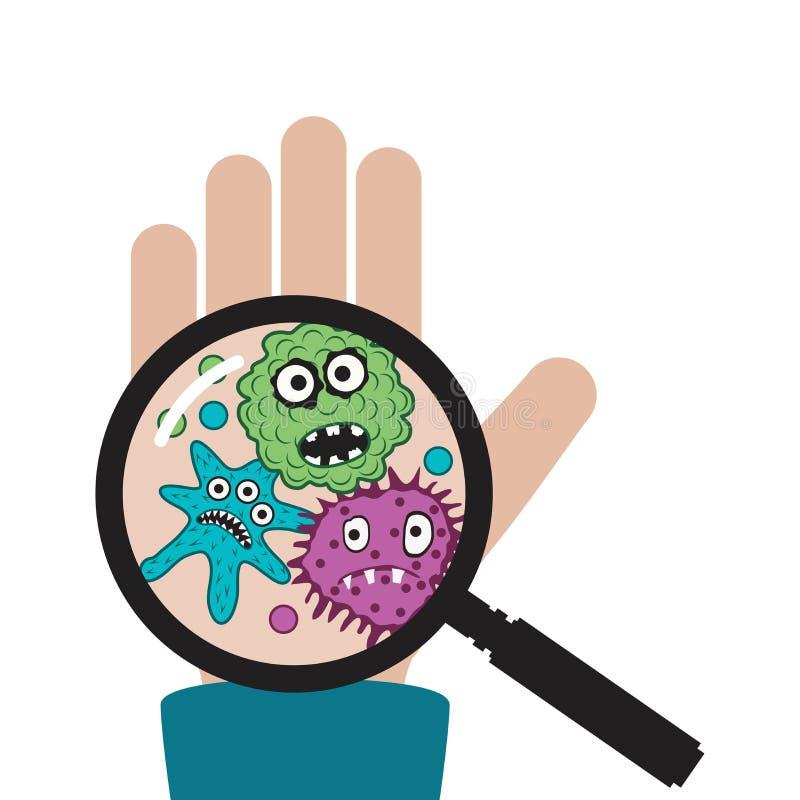 Wektorowa ręka z zarazkami i bakteriami ilustracja wektor