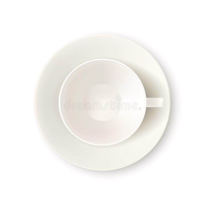 Wektorowa realistyczna 3d ilustracja biel pusta filiżanka, odizolowywająca Herbaciany lub kawowy kubek na spodeczku, odgórnego wi ilustracja wektor