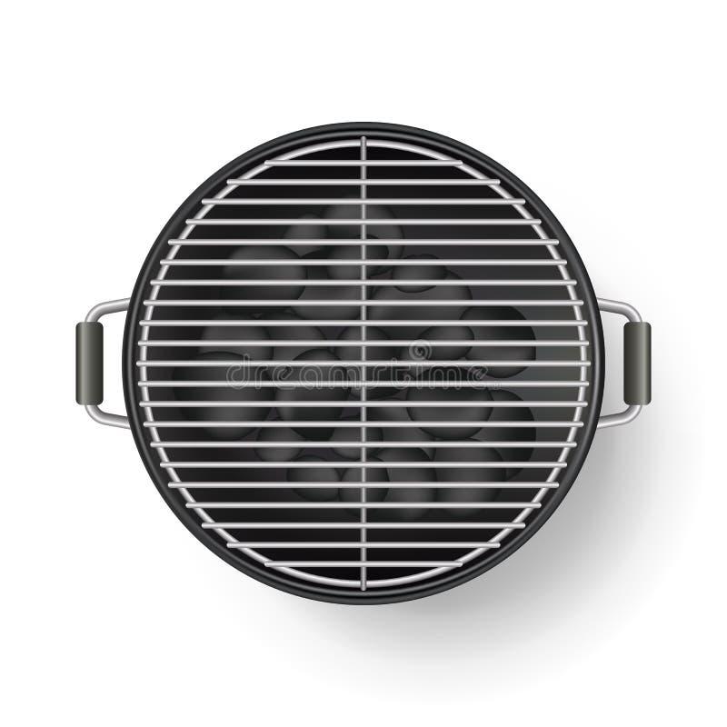 Wektorowa realistyczna 3d ilustracja grilla grill, odosobniona na białym tle BBQ odgórnego widoku ikona ilustracja wektor