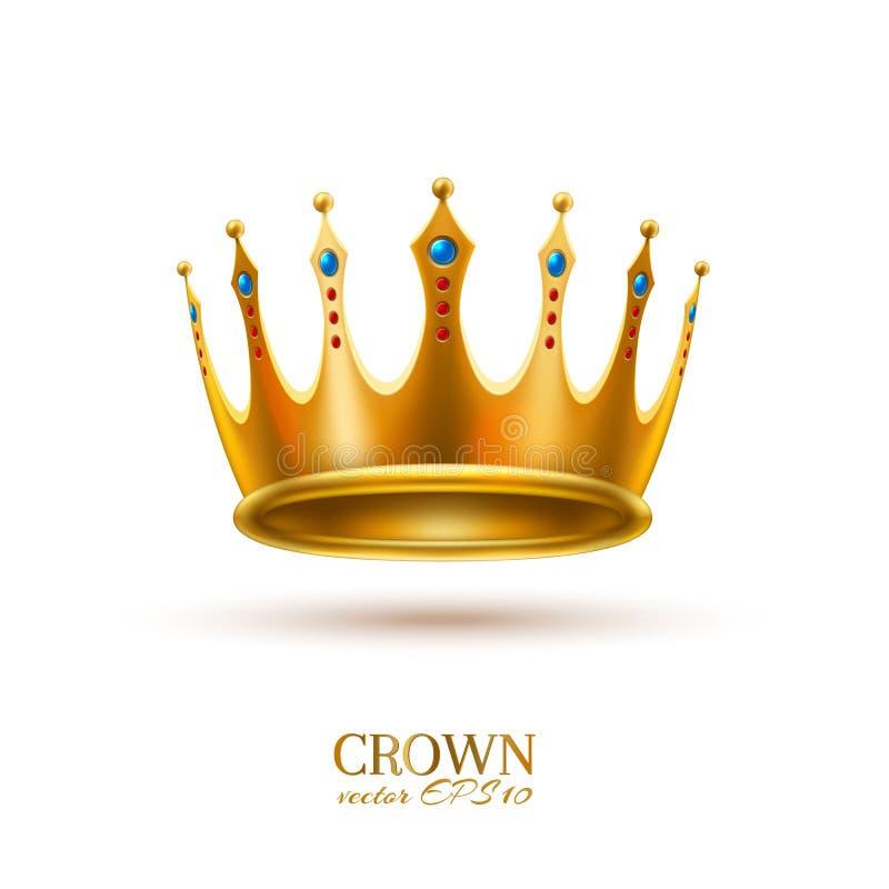 Wektorowa realistyczna 3d złota korona ilustracji
