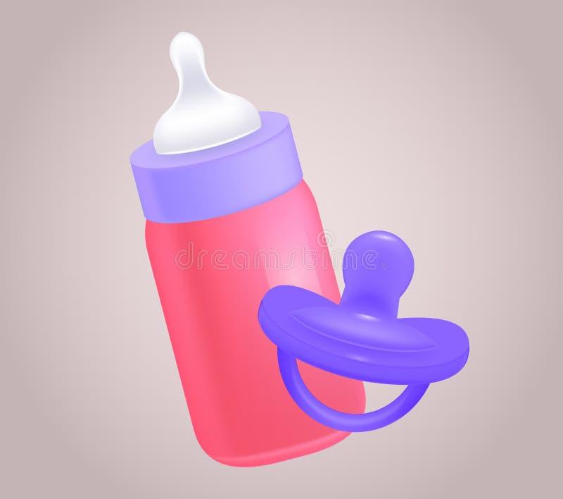 Wektorowa realistyczna ilustracja dziecko pacyfikator i butelka royalty ilustracja