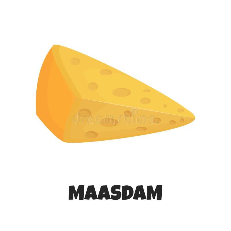 Wektorowa Realistyczna ilustracja Maasdam ser royalty ilustracja