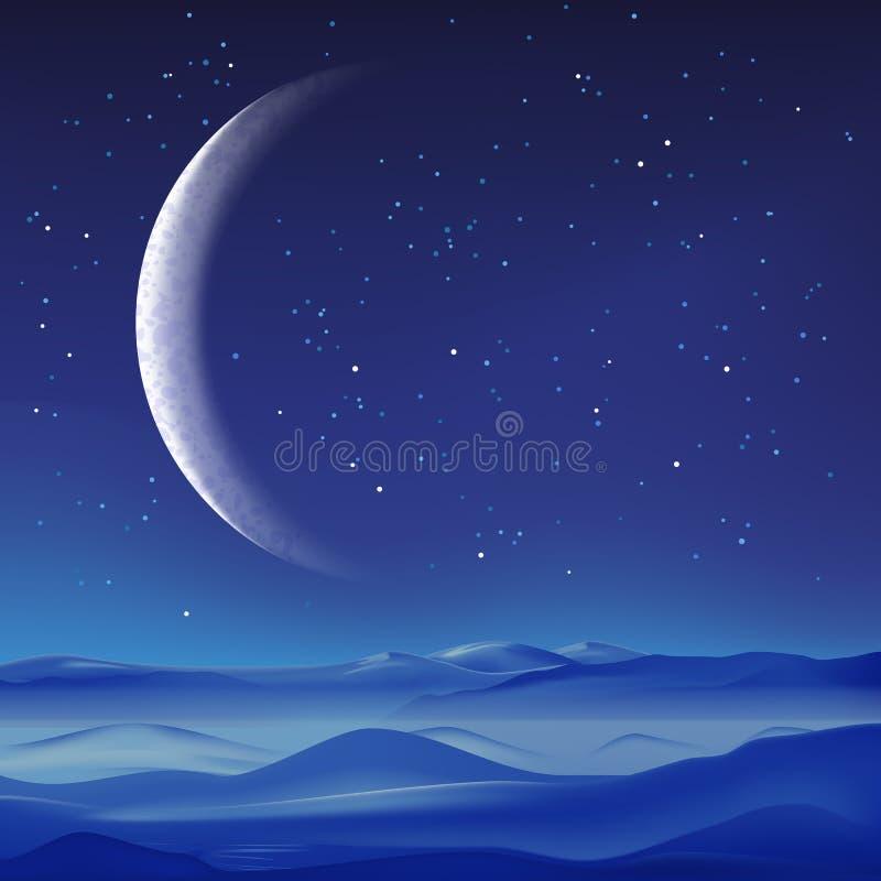 Wektorowa realistyczna ilustracja mgliste góry krajobraz i półksiężyc na niebieskim niebie Nocy natury tło fotografia stock