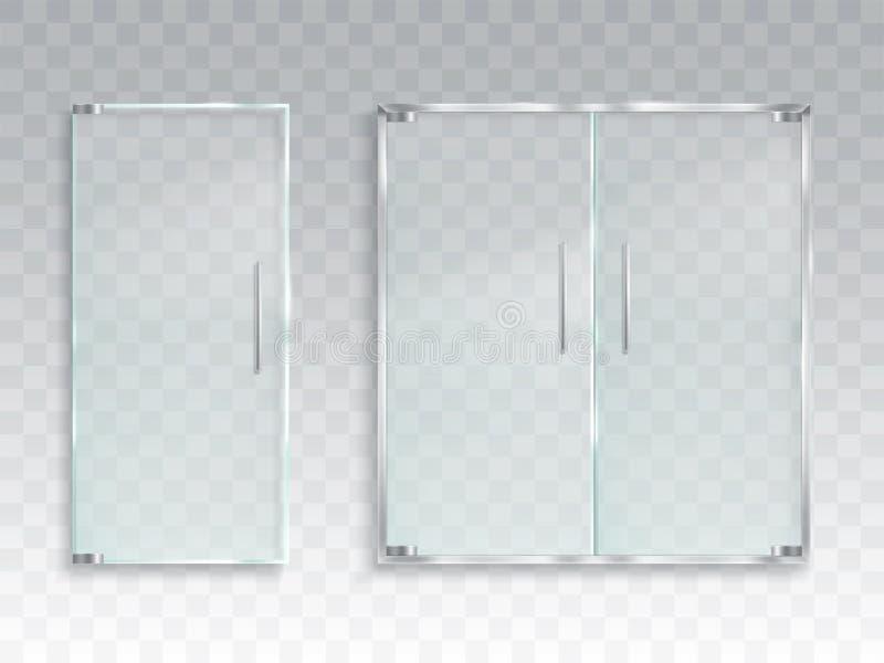 Wektorowa realistyczna ilustracja układ wejściowy szklany drzwi z metal rękojeściami ilustracja wektor